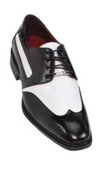 Black Mens Two Tone Dress Shoes Oxford: Wingtip $99
