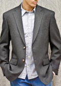 SKU#CHK713 Mens 2-Button Poly Blazer Charcoal Gray $139