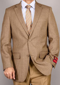 Mens Camel 2-Button Wool