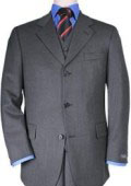 Men's 3 Buttons Vested 3 Pieces Super 150's Wool Feel Poly~Rayon Solid Charcoal Gray Suits $199