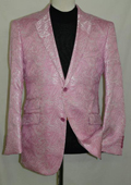SKU#PNC72 Floral Pink Silky Paisley Blazer Shiny Stage Sports Jacket $225
