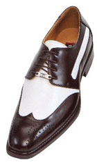 SKU#NMA33 French Brown and White Mens Two Tone Dress Shoes Oxford: Wingtip