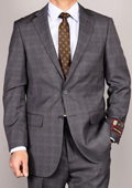 Men's Side Vented Jacket & Flat Front Pants Grey Plaid Two-Button Suit $165