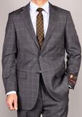 Men's Side Vented Jacket & Flat Front Pants Grey Plaid Two-Button Suit $165