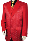 Men's 3 Piece Designer Fashion Trimmed Two Tone Blazer/Suit/Tuxedo - Fancy Diamond Pattern Red $189
