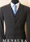 SKU MUV3 Mens Solid Dark Charcoal Gray Vested  Super 140s Wool Vergin Marino Wool Vented 165