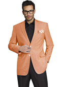SKU#PCH881 Mens Stylish Two Button Jacket Peach ~ Mango Sport Coat / Blazer $125