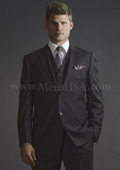 2 Button 3 Piece Brown Pinstripe Fitted affordable suit online sale $275