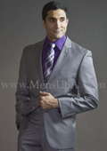 2 Button 3 Piece Light Grey Fitted affordable suit online sale $165