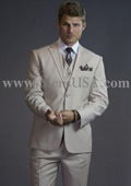SKU#VSF711 2 Button 3 Piece Beige Tone on Tone Slim Fit affordable suit online sale $165