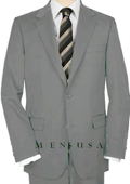 UMO High-Quality 2 Button Light Gray Suit Wide Leg 22 Inch Pleated Pants Double Vented Jacket