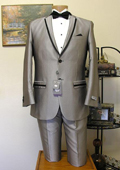 SKU#TBH82 Grey Slim Cut 2 Button Edge Lapel Tuxedo Jacket and Pant Combination $199