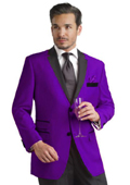 SKU#PRP81 Purple Two Button Notch Party Suit & Tuxedo & Blazer w/ Black Lapel $159
