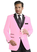 SKU#PNK901 Pink Two Button Notch Party Suit & Tuxedo & Blazer w/ Black Lapel 7 days delivery