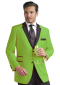 SKU#APF61 lime mint Green ~ Apple ~ Neon Bright Green Two Button Notch Party Suit & Tuxedo & Blazer w/ Black Lapel $595