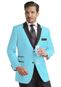 Light Blue ~ Sky Blue Two Button Notch Party Suit & Tuxedo & Blazer w/ Black Lapel $495