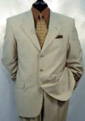 Umo 3-Button Tan ~ Beige Single Breasted Pleated Pants Wool & Cashmere Solid premier quality italian fabric Suit $195