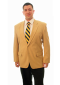SKU#CML011 Single Breasted 2 Button Solid Camel ~ Khaki Blazer $175