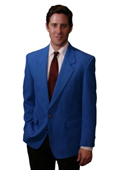 SKU#RYL34 Single Breasted 2 Button Solid Royal Blazer $175