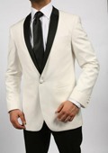 SKU#EXW81 Off White~Ivory~Cream & Black Shawl Tuxedo Dinner Jacket