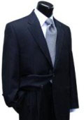 SKU QWR634 Mens 2 Button Navy Blue Super 100s Wool  single breasted and pleated Suit 195