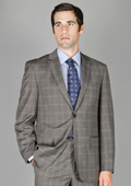 Grey Windowpane 2-Button Wool and Silk Blend Suit $175