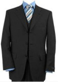 Men's 3 Piece Black Vested Made Premier Quality Italian Fabric Fine Quality Poly~Rayo $139