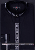 SKU#FBV88 Men's Banded Collar Clergy dress shirts without collars Mandarin Collarless - Cross Embroidery Black