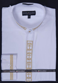 SKU#WQP99 Men's Banded Collar Clergy dress shirts Mandarin Collarless - Cross Embroidery White