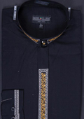 SKU#JNC57 Men's Banded Collar Embroidered dress shirts Mandarin Collarless - Fancy Stitching Black
