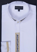 SKU#WHT22 Men's Banded Collar Embroidered dress shirts Mandarin Collarless - Fancy Stitching White