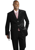 Velvet Velour Fabric Vested Suit Black