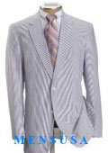 Causal White & Sky Blue Pinstripe Seersucker Summer Suits