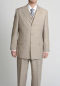 Peak Pointed English Style Lapel Men's Tan ~ Beige Tonal Glen Plaid Vested three piece suit $175