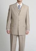 Peak Pointed English Style Lapel Men's Tan ~ Beige Tonal Glen Plaid Vested three piece suit $175