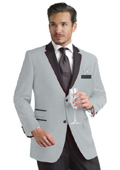 Light Gray Two Button Notch Party Suit & Tuxedo & Blazer w/ Black Lapel