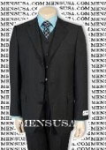 Solid Black Vested 3 Pieces Super 150's Wool Vested 3 Pieace Light Weight Side Vent $325