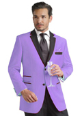 Lavender Two Button Notch Party Suit & Tuxedo & Blazer w/ Black Lapel $395