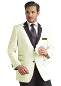 Ivory Two Button Notch Party Suit & Tuxedo & Blazer w/ Black Lapel Dinner Jacket $595