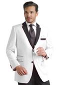 SKU#REQ2 White Two toned 2 Button Notch Party Suit & Tuxedo & Dinner Jacket Blazer W/ Black Lapel + Free Pant