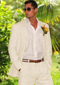 SKU#GBS33 Men's 2 button style with pleated pants Suit in OFF White~Ivory~Cream Perfect for wedding