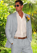 Men's 100% Linen Suit in Light Gray