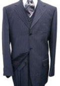 Navy Blue Pinstripe Vested 3 PC three piece suit Super 120's Wool Feel Extra Fine Poly~Rayon $149
