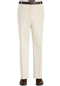 SKU#ITY4 Stage Party Pants Trousers Flat Front Regular Rise Slacks - Ivory