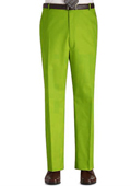 SKU#UJ88 Colored Pants Trousers Flat Front Regular Rise Slacks - Lime Green ~ Apple ~ Neon Bright Green $89