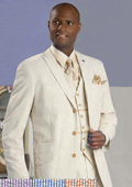 Mens Stylish Beige ~ Tan Seersucker Suit Available in 2 buttons $139