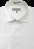 SKU#AL4X Men's French Cuff Dress Shirt - Classic Stripe Ivory