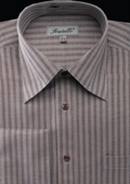 Men's French Cuff Dress Shirt - Herringbone Stripe Dark Brown $39