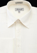 SKU#MAQ86 Men's French Cuff Dress Shirt - Herringbone Tweed Stripe Ivory