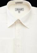 SKU#MAQ86 Men's French Cuff Dress Shirt - Herringbone Tweed Stripe Ivory